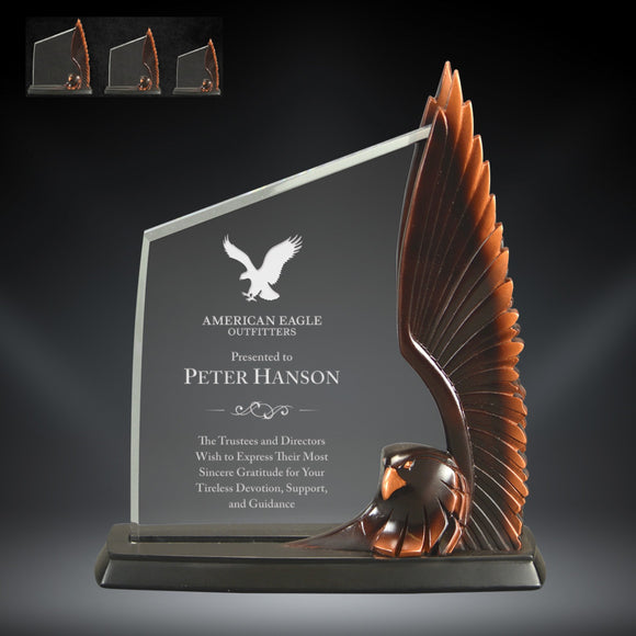 GreyStone Resin & Acrylic Eagle Award with Raised Wing | 3 SIZES