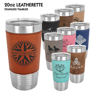 20 oz. Leatherette Grip Stainless Tumblers | 9 Colors Available