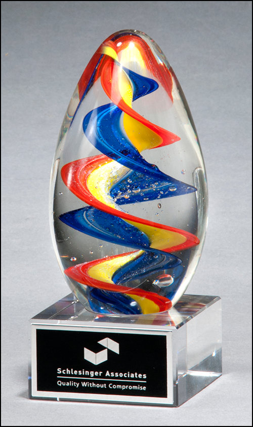 Airflyte Art Glass Colorful egg-shaped award with clear base and Black Laser Plate