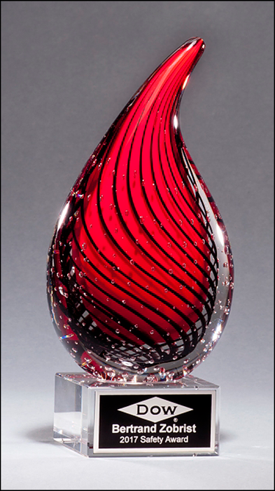 Airflyte Art Glass Droplet-Shaped Award on Clear Glass Base with Black Laser Plate