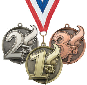 "2-1/4"" Mega Series Place Medals on 7/8"" Neck Ribbons 