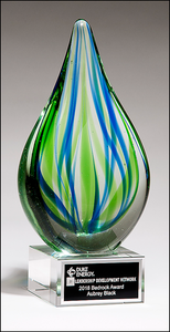 Airflyte Art Glass Droplet-Shaped Blue and Green Award on Clear Glass Base with Black Laser Plate