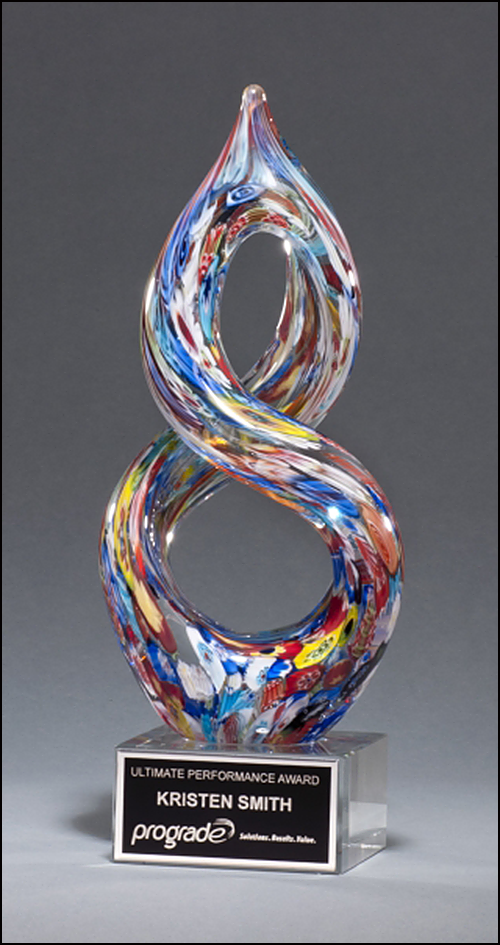 Airflyte Art Glass Helix-Shaped Multi-Color on Award with Black Laser Plate