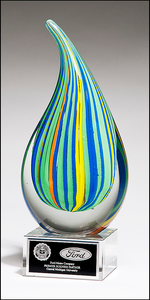 Airflyte Art Glass Droplet-Shaped Multi-Color Award with Clear Glass Base and Black Laser Plate