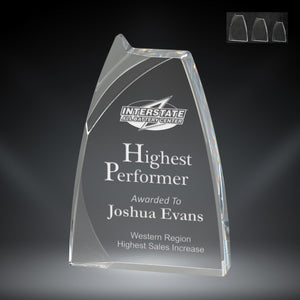 "GreyStone 1"" thick Clear Triumph Style Acrylic Award 