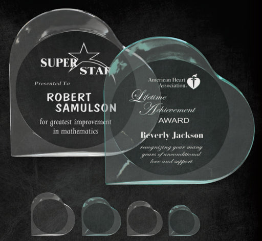 "GreyStone 1"" thick Heart Style freestanding Acrylic Award 
