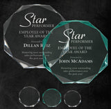 "GreyStone 1"" thick Octagon Style freestanding Acrylic Award 