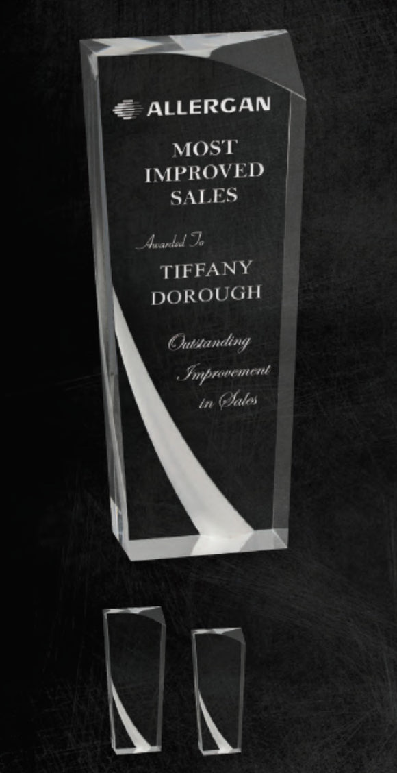 GreyStone Clear Tuscany Frosted Accent Acrylic Award | 2 SIZES