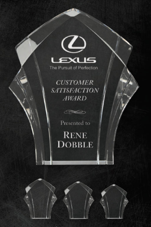 "GreyStone 1"" thick Clear Panache Style freestanding Acrylic Award 