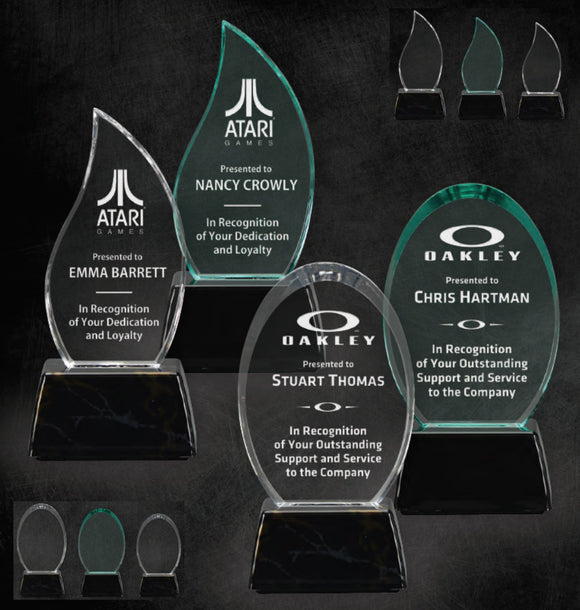 GreyStone Flame and Oval Style Acrylic Awards with Snap-In Weighted Plastic Bases | 2 STYLES | 2 COLORS | 3 SIZES