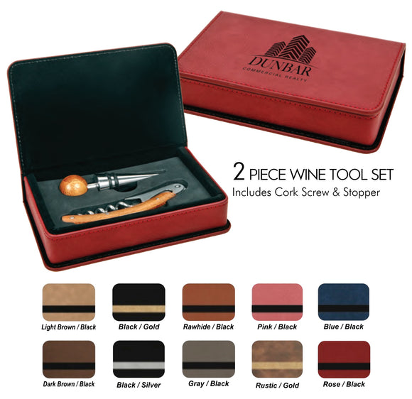 Leatherette 2 Piece Wine Tools Sets | 9 Colors Available