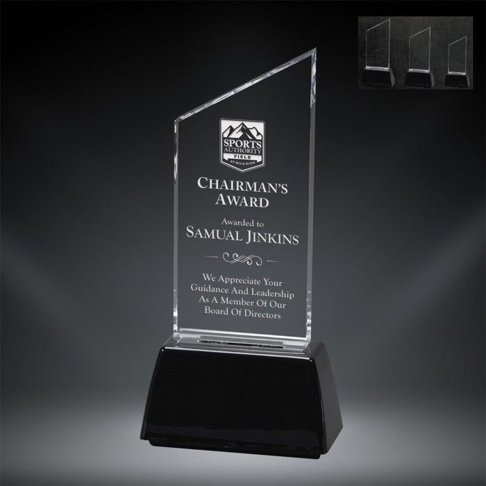 GreyStone Clear Peak Style Acrylic Award with Snap-In Weighted Black Plastic Base | 3 SIZES