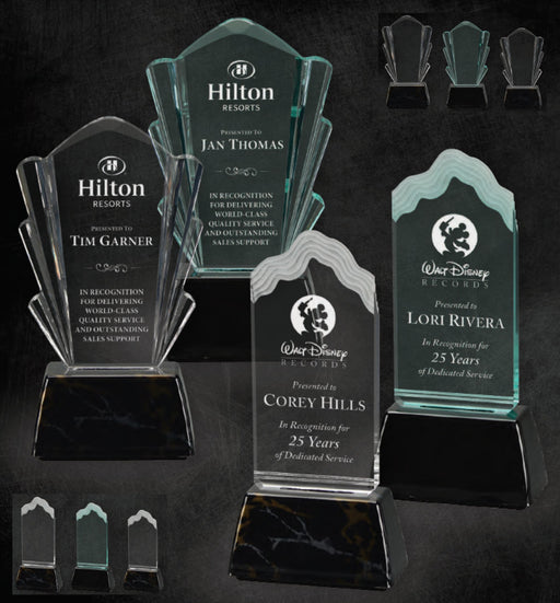 GreyStone Coronet and Wave Style Acrylic Awards with Snap-In Weighted Plastic Bases | 2 STYLES | 2 COLORS | 3 SIZES
