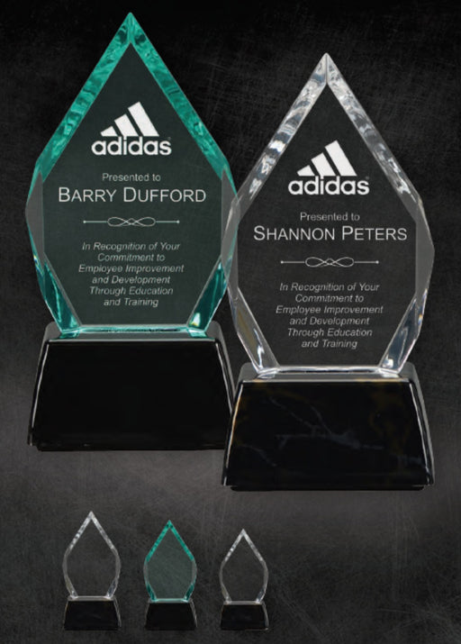 GreyStone Diamond Style Acrylic Award with Snap-In Weighted Plastic Bases | 2 COLORS | 3 SIZES