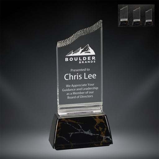 GreyStone Clear Summit Style Acrylic Award with Snap-In Weighted Black Marble Plastic Base | 3 SIZES
