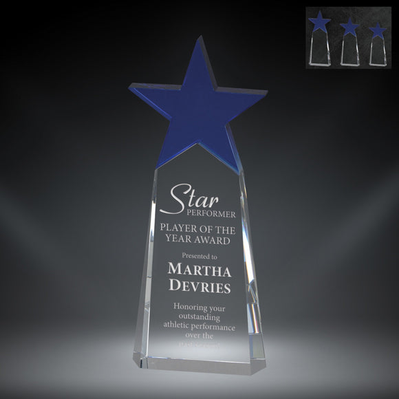GreyStone Orion Tower Crystal Award with Blue Star | 3 SIZES