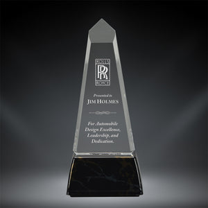 GreyStone Obelisk Style Acrylic Award with Snap-In Weighted Plastic Bases | 2 COLORS | 3 SIZES