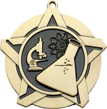 "2-1/4"" Super Star Series Award science Medals on 7/8"" Neck Ribbons"