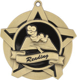 "2-1/4"" Super Star Series Award Reading Medals on 7/8"" Neck Ribbons"