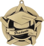 "2-1/4"" Super Star Series Award Graduate graduation Medals on 7/8"" Neck Ribbons"