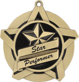 "2-1/4"" Super Star Series Star Performer Award Medals on 7/8"" Neck Ribbons"