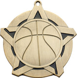 "2-1/4"" Super Star Series Award Basketball Medals on 7/8"" Neck Ribbons"