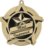 "2-1/4"" Super Star Series Award Most Improved Medals on 7/8"" Neck Ribbons"