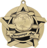 "2-1/4"" Super Star Series Award Language Arts Medals on 7/8"" Neck Ribbons"