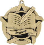"2-1/4"" Super Star Series Writing Award Medals on 7/8"" Neck Ribbons"