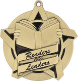 "2-1/4"" Super Star Series Award Readers are Leaders Medals on 7/8"" Neck Ribbons"