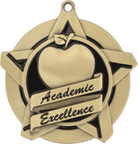 "2-1/4"" Super Star Series Award Academic Excellence Medals on 7/8"" Neck Ribbons"