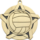 "2-1/4"" Super Star Series Volleyball Award Medals on 7/8"" Neck Ribbons"