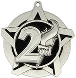 "2-1/4"" Super Star Series 2nd Place Medals on 7/8"" Neck Ribbons"