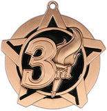 "2-1/4"" Super Star Series 3rd Place Medals on 7/8"" Neck Ribbons"