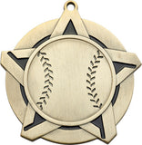 "2-1/4"" Super Star Series Award Baseball Medals on 7/8"" Neck Ribbons"
