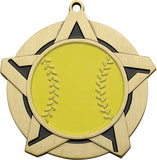 "2-1/4"" Super Star Series softball Award Medals on 7/8"" Neck Ribbons"