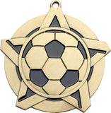 "2-1/4"" Super Star Series soccer Award Medals on 7/8"" Neck Ribbons"
