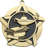 "2-1/4"" Super Star Series Award Lamp of Knowledge Medals on 7/8"" Neck Ribbons"