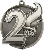 "2-1/4"" Mega Series 2nd Place Medals on 7/8"" Neck Ribbons"