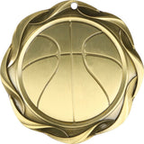 "3"" Fusion Basketball Award Medals on 1-1/2"" Wide Neck Ribbons"