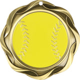 "3"" Fusion Softball Award Medals on 1-1/2"" Wide Neck Ribbons"
