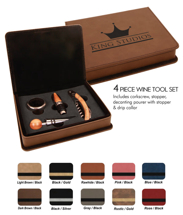 Leatherette 4 Piece Wine Tool Set | 9 Colors Available