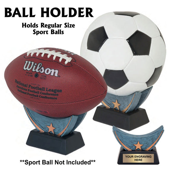 Full-Size Sport Ball Holder Resin Trophy