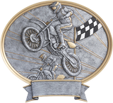 Legend Series Silver and Gold Oval Cars Bikes Racing and Motorcross Resin Plates