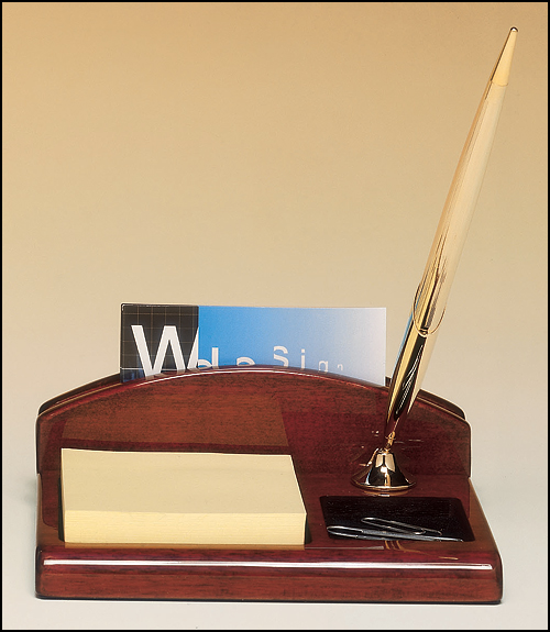 Airflyte Rosewood stained piano finish desk organizer with business card holder, pen and Post-It Note pad, included