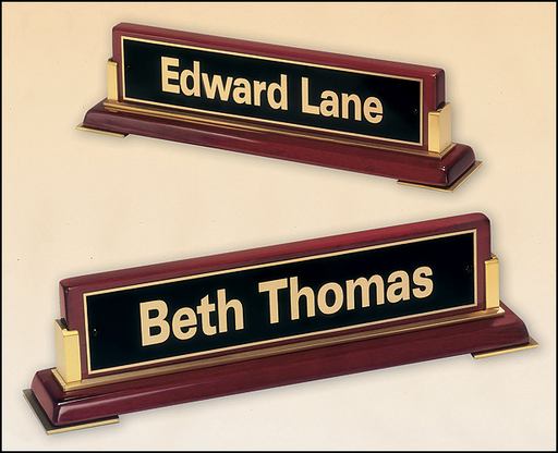 Airflyte Rosewood stained piano finish nameplate with Brass Accents