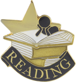 Die Struck Enamel Filled Reading Lapel Pin