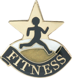 Die Struck Enamel Filled Fitness Lapel Pin