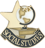 Die Struck Enamel Filled Social Studies Lapel Pin