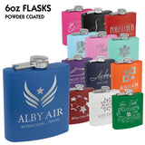 Powder Coated Stainless Steel 6 oz. Flask | 13 COLORS
